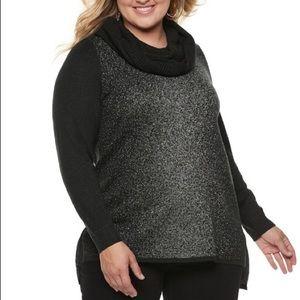 APT 9 Metallic Black Sweater w/Detachable Scarf ❤️